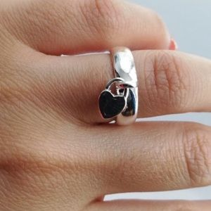 Jewelry - ⚜️Dangle HEART Charm 925 Silver RING⚜️
